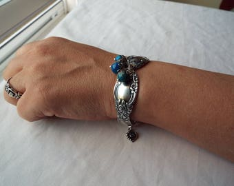 """Spoon Bracelet, Spoon Jewelry, Antique Silver Plate Spoon, Floral spoon bracelet, Silverware Bracelet, """"Ballad"""" by 1847 Rogers/Oneida, 1955"""