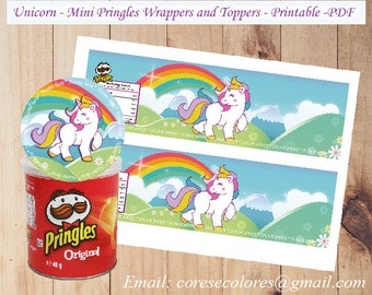 Unicorn mini Pringles wrappers and Toppers. Great for Unicorn Party, Unicorn sweet table or Unicorn decoration.