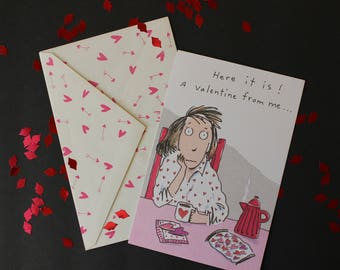 VALENTINE'S DAY CARD with printed Envelope~ Tired Housewives ~ Singles ~ Anyone with a sense of humor!