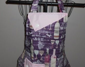 Just Like Wine I Get Better With Age - Women's Apron - Ruffle - Pocket - Wino - Bottles - Drink