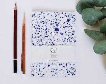 A6 Ink Splatter Notebook, Blue Ink Splatter Notebook, Small Notebook, Journal, A6 Notebook