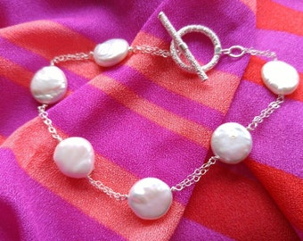 Light and Lovely Coin Pearl and Sterling Bracelet NBJ214