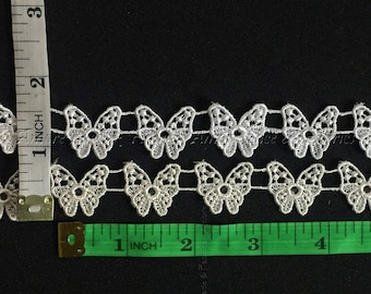 Item: A0007, 5 yards 3/4 Detailed Butterfly Venise Lace Trim