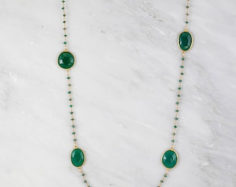 Designer Long Necklace, Emerald Necklace, Green Onyx Necklace, Long Station Necklace, Statement Necklace, Layering Necklace, Christmas Gift