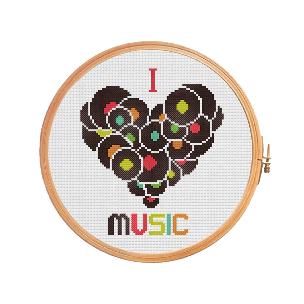 I Love Music cross stitch pattern gifts for him counted