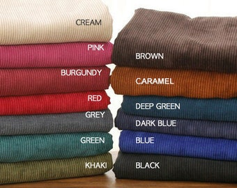"""Large Wale Corduroy Fabric, 12 colours, by Yard, 148cm(58"""") Width"""