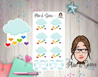 Good Day Planner Stickers, Rainbow Cloud Planner Stickers, Happy Planner, Good Day Stickers, FUN-068