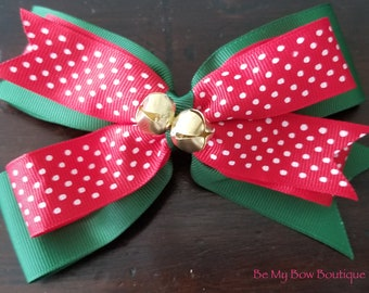 Holiday Green and Red Polkadot Split-Tail Hairbow