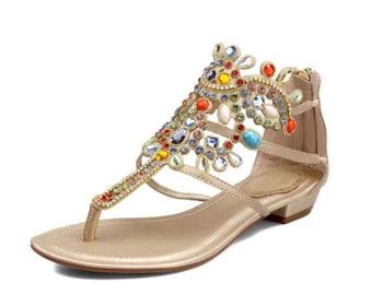Rhinestone Gladiator Leather Sandals