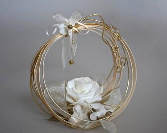 Wedding ring keeper, Gold Ring Bearer Pillow, Natural preserved flowers, Wedding basket, Wedding, Ring holder, White preserved rose