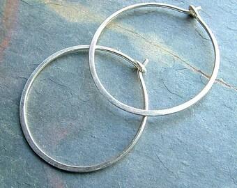 Silver Hoop Earrings Sterling Silver Medium Hoops, organic silver hoops minimalist jewelry womens gift, womanmade