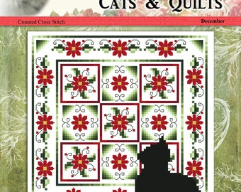 Cats And Quilts December Original Counted Cross Stitch Pattern by Pamela Kellogg