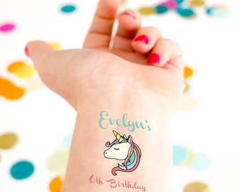 Unicorn Birthday Tattoo, Kids Birthday, Temporary Tattoo, Custom Tattoo, Princess Birthday Party, Party Favor, Unicorn Party, Rainbow, Girl