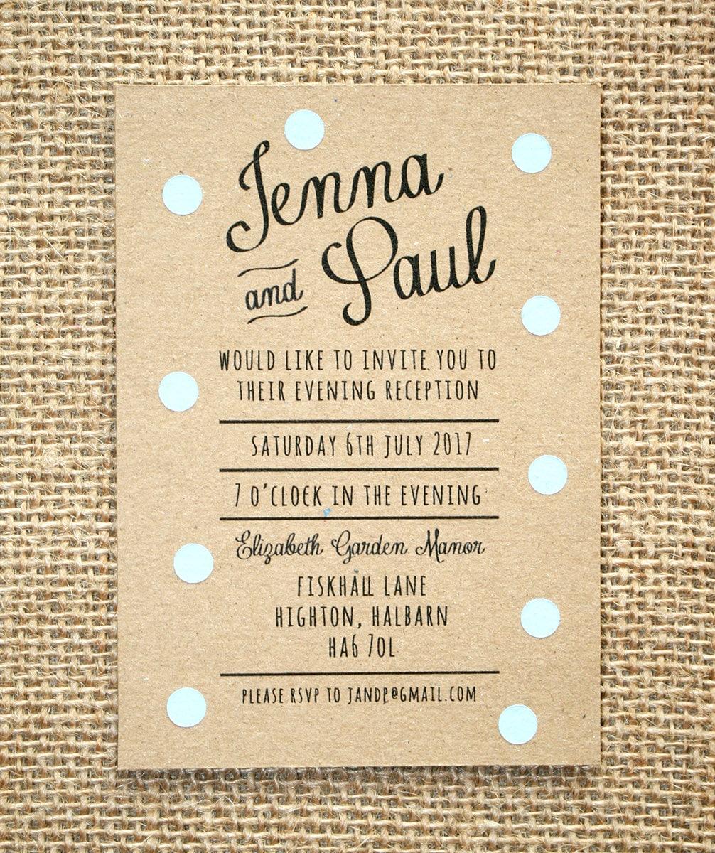 Wedding Ideas For Evening Reception: Pastel Blue Polka Dot Evening Wedding Invitation Rustic