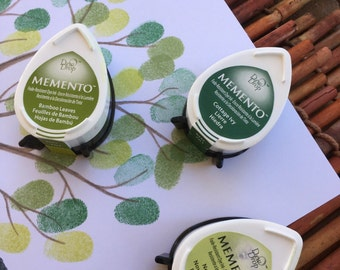 set of 3 green Memento stamp pads, mini stamp pads, small stamp pads,memento dew drop stamp pads,  fingerprint ink pads, fingerprint tree