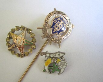 Antique Lot of Three Edwardian Fraternal Goldfill and Sterling Enamel  Lapel Cravat Pins