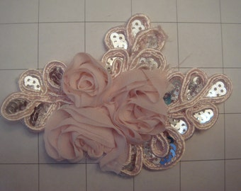"Light Pink Flower and Sequins Braided Applique 4 1/2"" by 3 1/4"""