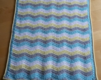 Baby blanket crochet ripple blanket, baby blanket, afghan. Size 20 x 25 inches - alternative colours available