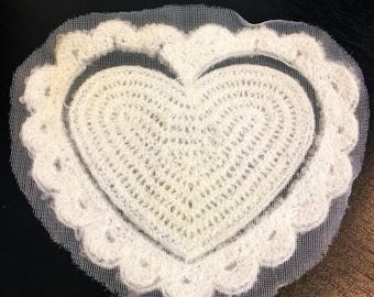 White Knitted Heart Sew On Applique