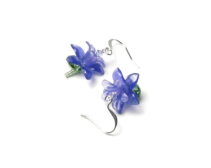 Purple Violet Flower Swarovski Crystal Silver Dangle Earrings Small Dainty Spring Lilac Acrylic Floral Jewelry for Mother's Day Gift Boxed