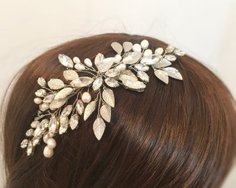 Wedding Hair Accessories, bridal rhinestone hair piece, bridal hair accessories pearl headpiece silver, crystal headpiece wedding hair piece