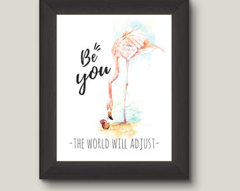 Pink Flamingo Wall Art | Printable | Be You Quote | Inspirational Flamingo | Tropical Decor | Instant Download