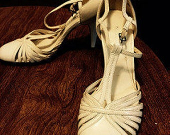 Vintage Inspired T-Strap Ivory Nine West Shoes