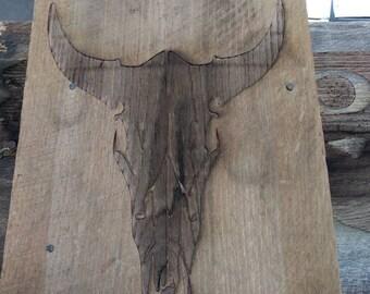 Custom Engraved Cow Skull on Barn Wood.