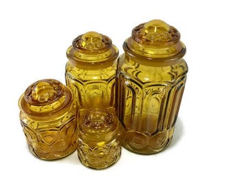 Vintage LE Smith Yellow Moon and Stars Cannister Set of 4 * Honey Amber * Harvest Gold