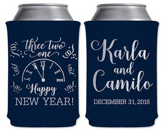 Neoprene Collapsible Can Cooler Custom Beverage Insulator Personalized NYE Wedding Favors | Happy New Year (2A) Countdown | READ DESCRIPTION