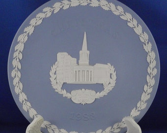 Wedgwood Jasperware Christmas Plate, 1983 All Souls London, pale blue and white