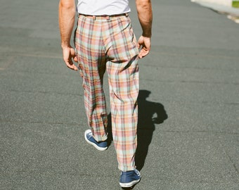 Vintage Check Print Pants . 80s Plaid Chino Pants Trousers Mens Oldschool Pants 90s Nerd Trousers Dad Pants . size Small S