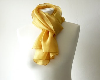 gold scarf gold silk scarf yellow scarf yellow silk scarf natural dyed scarf eco friendly scarf sunny scarf hand dyed scarf mustard scarf