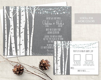 Birch Tree Wedding Invitation Set Rustic Winter Wedding Invitations Birch Trees Christmas Wedding Country Wedding Suite DIY Digital Template