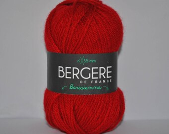 Pack of 10 balls of yarn, barisienne Bergère de france color bright red geranium 223.061 22306