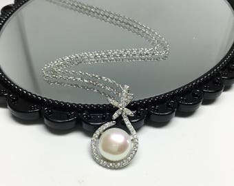 Blest Jewellery- Pearl Pendant - AAA9-10MM White Color Freshwater Pearl Pendant , Cubic Zirconia With 925 Silver,18 Inches 925 Silver Chain