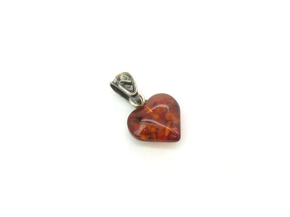 Tiny Vintage Baltic Amber Heart Pendant with Sterling Silver Bail