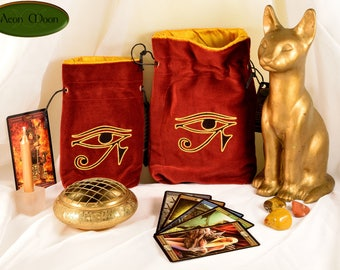 Eye of Ra - All Natural Cotton Velvet and Silk Tarot, Oracle, or Crystal bag