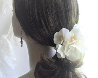 Realistic White Mini Tropical Orchid Corsage For Hair Drip Or Cluster Clip For Special Occasion Hand Assembled Tropical Flower handcraftusa