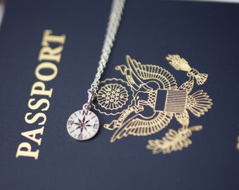 small compass necklace | wanderlust necklace | friendship necklace | traveler's necklace | graduation gift | birthday gift | gift under 20