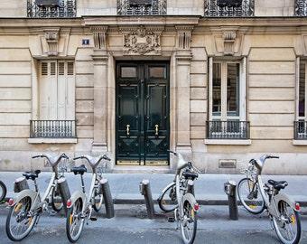 Paris Bicycles, Bikes in Paris, Paris Decor, Paris Photography, Paris Doors Art Print, Travel Photography, Wanderlust Art Print