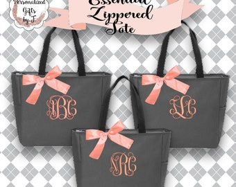 7 Bridesmaid Gift Tote Bags, Monogrammed Tote, Bridesmaids Totes, Personalized Tote, Wedding Tote Bag, Maid of Honor Gift