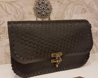 Crossbody, Black, Leather, Clutch, Wicker Designed, The Wicker Wiki Code:117
