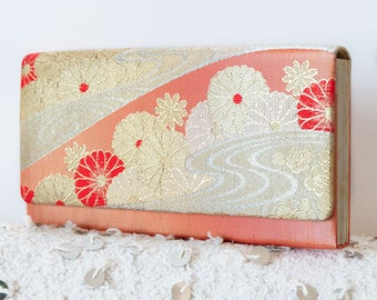 Kimono Clutch Luxury Purse, Fold Clutch, Vintage Evening Bag, Gold Clutch, Red Clutch, Japanese Clutch, Gift For Women, Unique Gift For Her