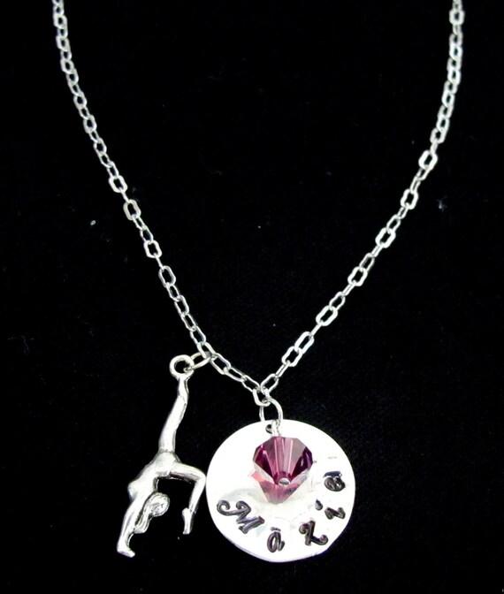 Gymnastics Necklace Gymnastics Jewelry Gymnast Necklace, Personalized Gymnastics Initial Name Customized birthstone Free Shipping in USA
