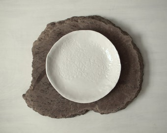 Ceramic floral impression dinner plate, serving tray.  Porcelain plate, handmade, one of a kind.