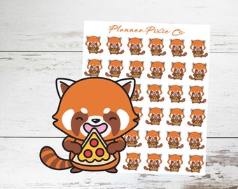 Red Panda Planner Stickers // Pizza // Cheat Day