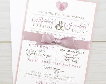 SAMPLE * Thumb Print Parcel with Satin Bow Wedding Invitation