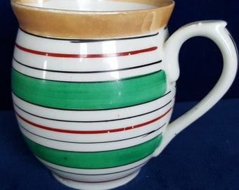 Czech striped lusterware pitcher