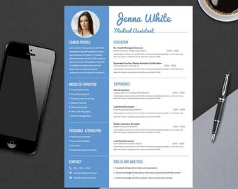 Minimal Professional Resume Template for Word | Modern Resume Medical Design | CV Template Design | Instant Digital Download | WHITE